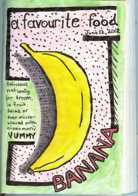 Stylized banana drawing by © Ana Tirolese