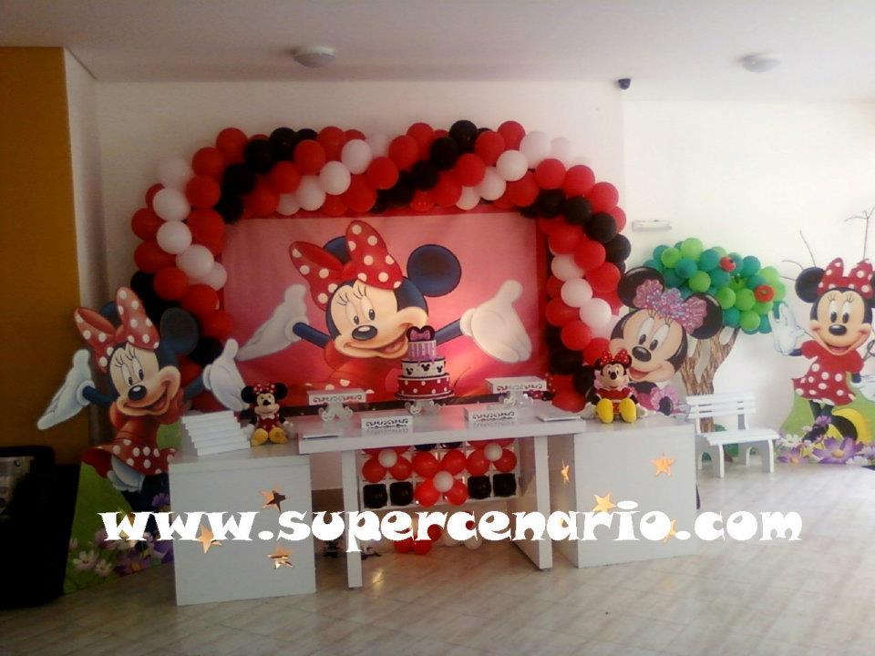 SUPER CENÁRIO Decoração Clean Minnie Vermelha