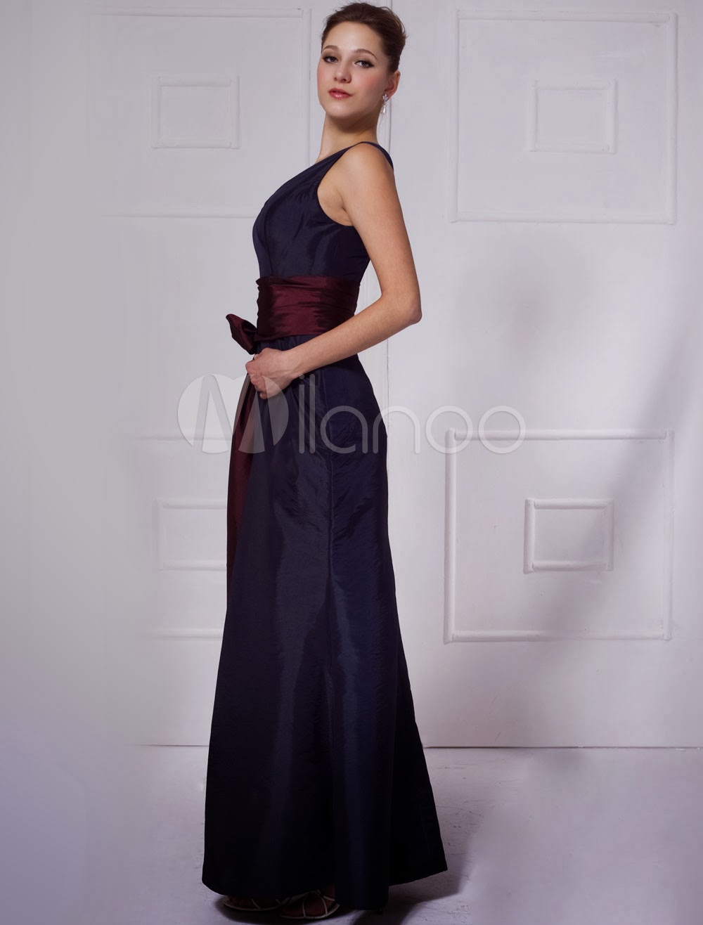 China Wholesale Dresses - Gorgeous V-Neck Sash Taffeta Evening Dress