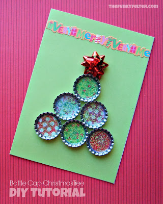 Handmade Bottle Cap Christmas Tree Card Craft Tutorial Project