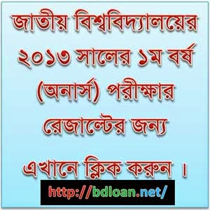 National University Honours 1st Year Result 2013
