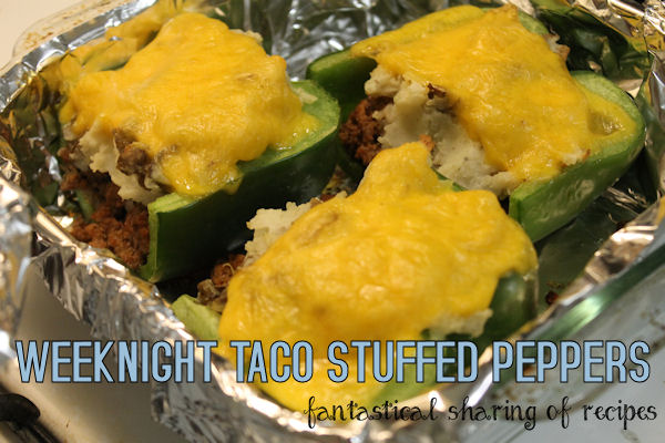 Weeknight Taco Stuffed Peppers - with beer and potatoes included! #recipe #dinner