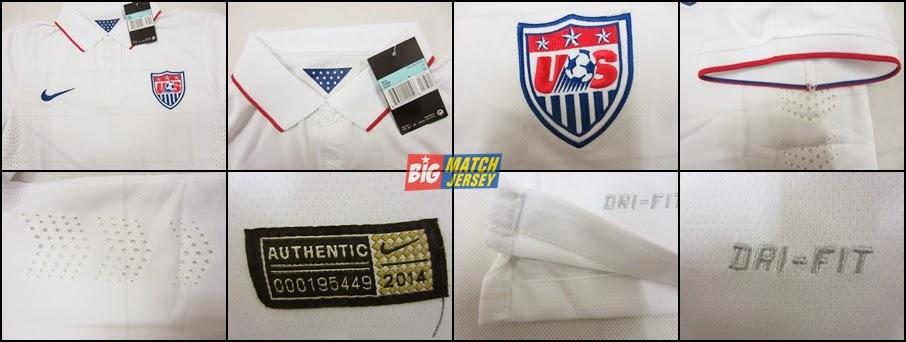 Detail Baju Bola Grade Ori USA Atau Amerika Serikat Home Terbaru Piala Dunia 2014