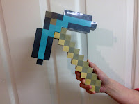 Minecraft diamond papercraft template pickaxe cut out