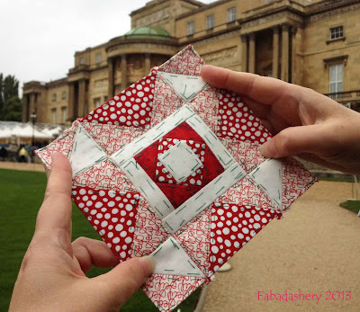Block 7, Nearly Insane Quilt visits Buckingham Palace, London