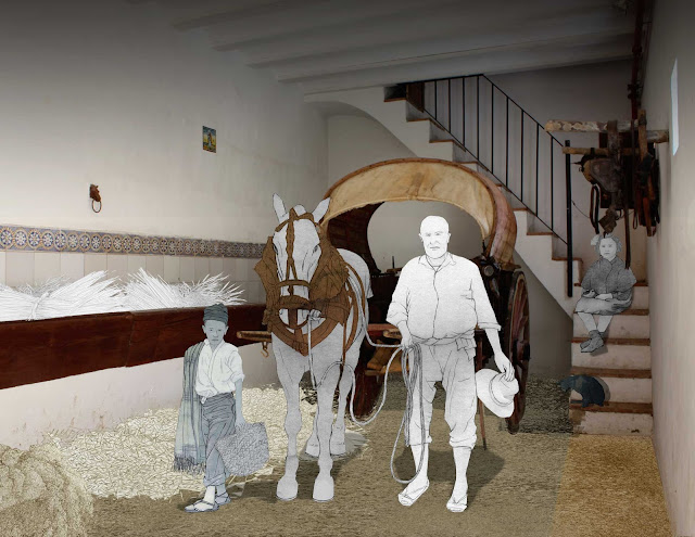 Cuadra, caballo, carro, Torrente, dibujo, foto