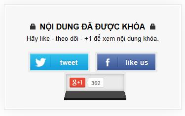 Hiện nội dung ẩn khi Like +1 và Tweet cho Blogger