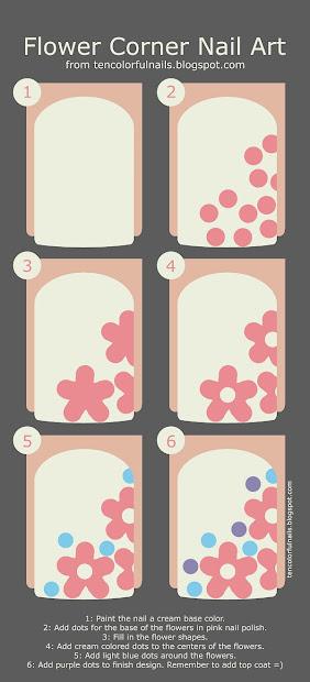 ten colorful nails flower corner
