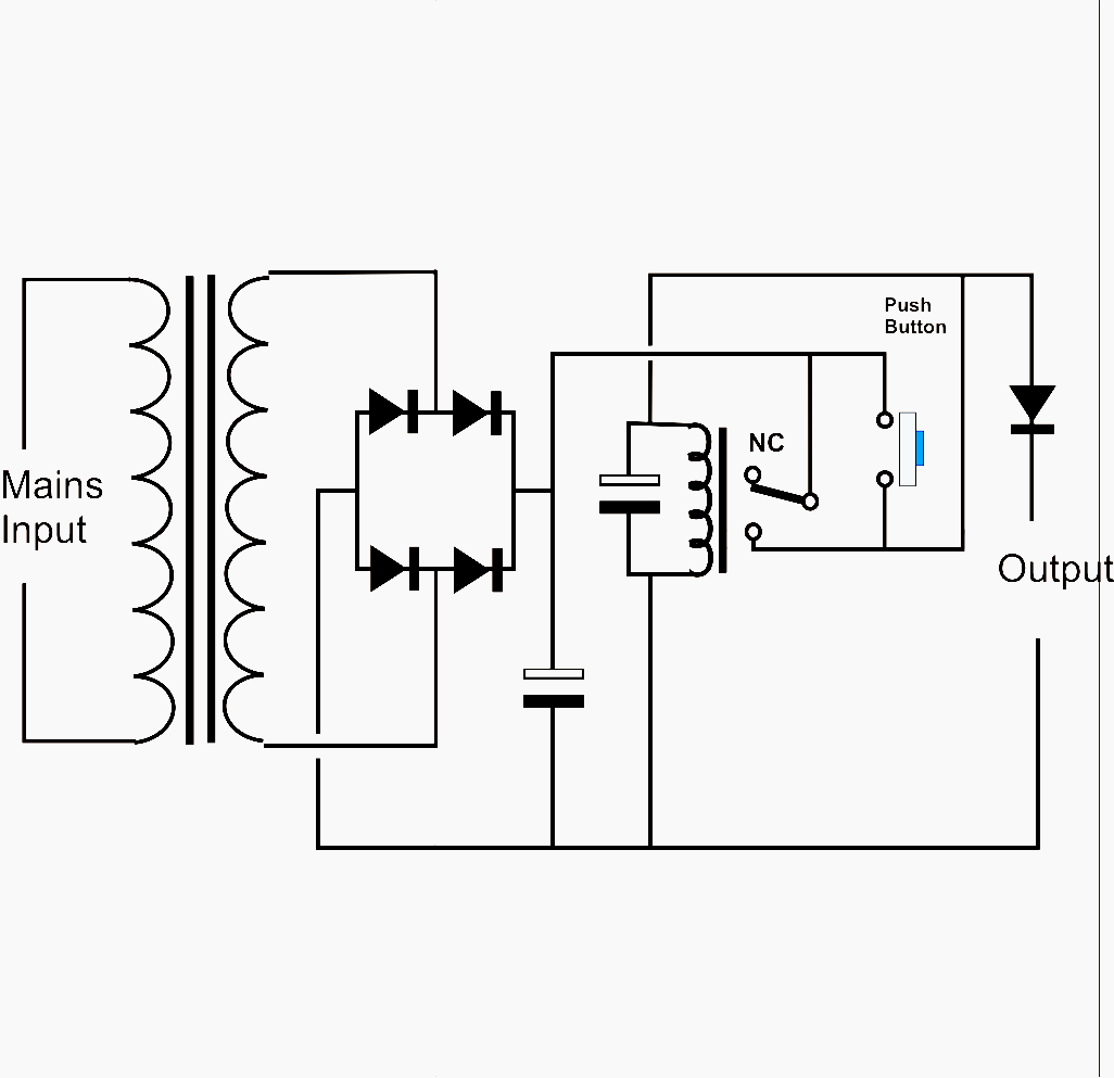 Simple Short Circuit Protection Modelrailotenko Chasing Led A Relay Is Used To Allow Power From The Source Output This Initially De Energised Momentary Push Button When Activated Will Provide