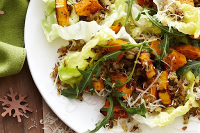 Pumpkin & rocket salad with herb stuffing crumbs Recipe