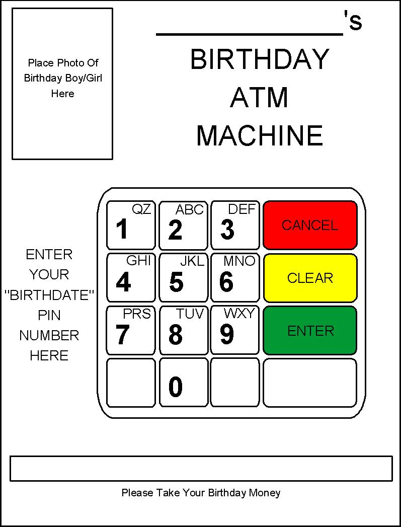 robbygurl's creations diy birthday card atm machine, Birthday card