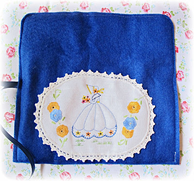image embroidered crochet hook roll vintage doily navy blue crinoline lady gentle art of stitching