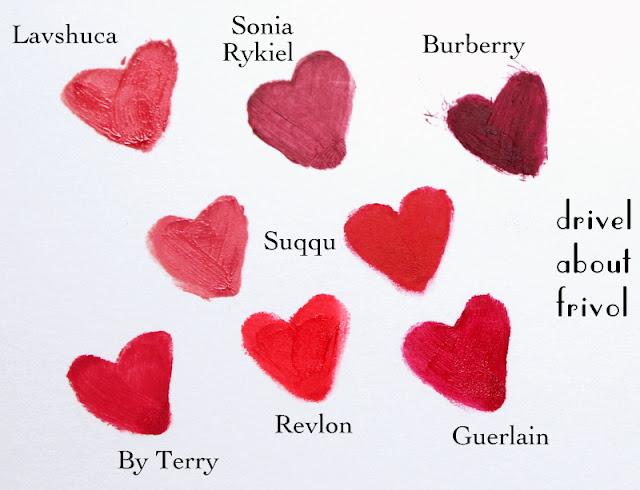 Lavshuca RD-1, Sonia Rykiel 24, Burberry Bright Plum Suqqu Blend Maizakura and Creamy Glow 18 Karakurenai By Terry Hot Cranberry, Revlon Fire&Ice, Guerlain Liu
