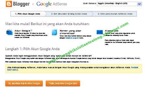 cara daftar google adsense blogger Indonesia 2