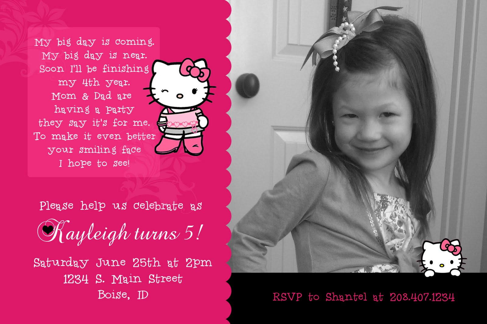 Kayleighs kreations hello kitty birthday invitation for my hello kitty birthday invitation for my daughter kayleighs 5th birthday stopboris