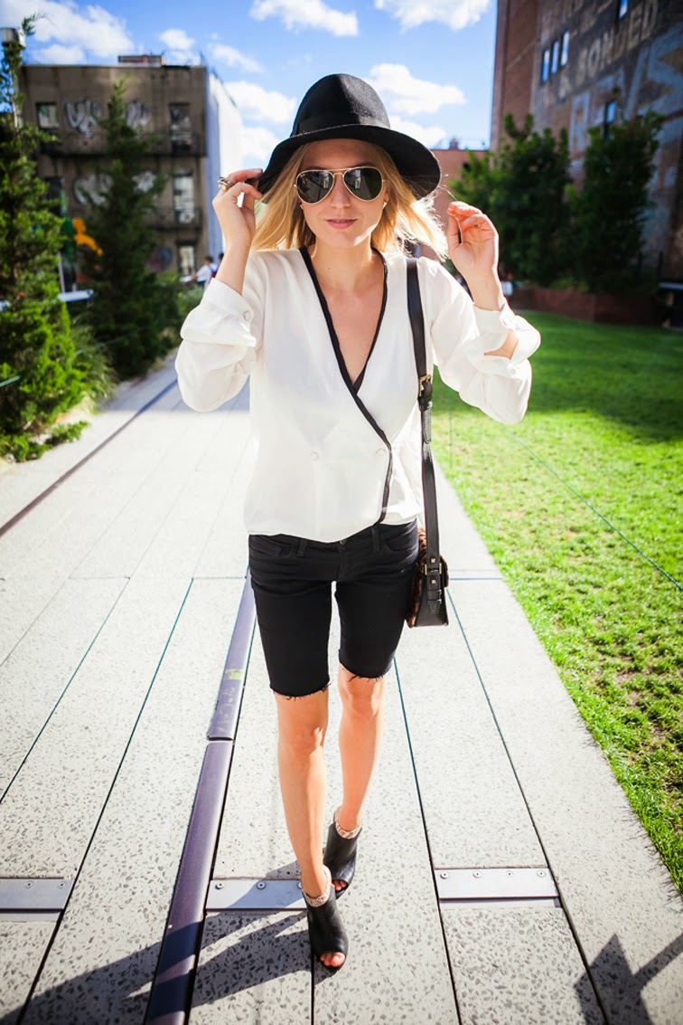 Tuxedo shirt wide brim hat cutoffs Iosselliani Emm Kuo Whistles Julia Jentzsch