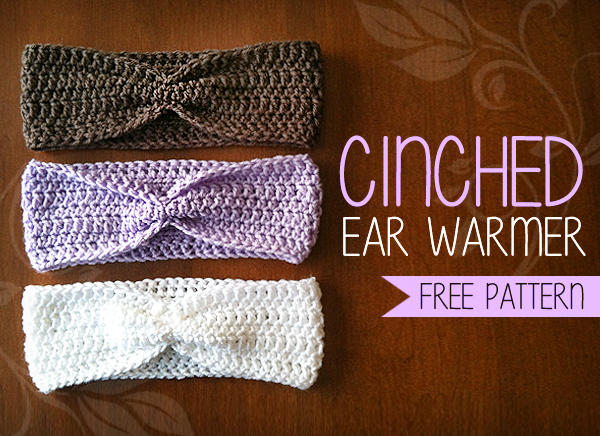 free crochet pattern cinched ear warmer