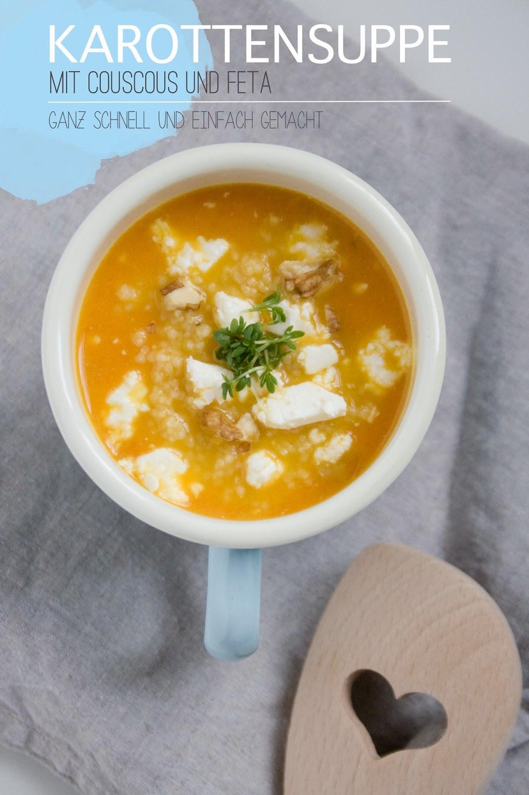 Karottensuppe mit Couscous und Feta