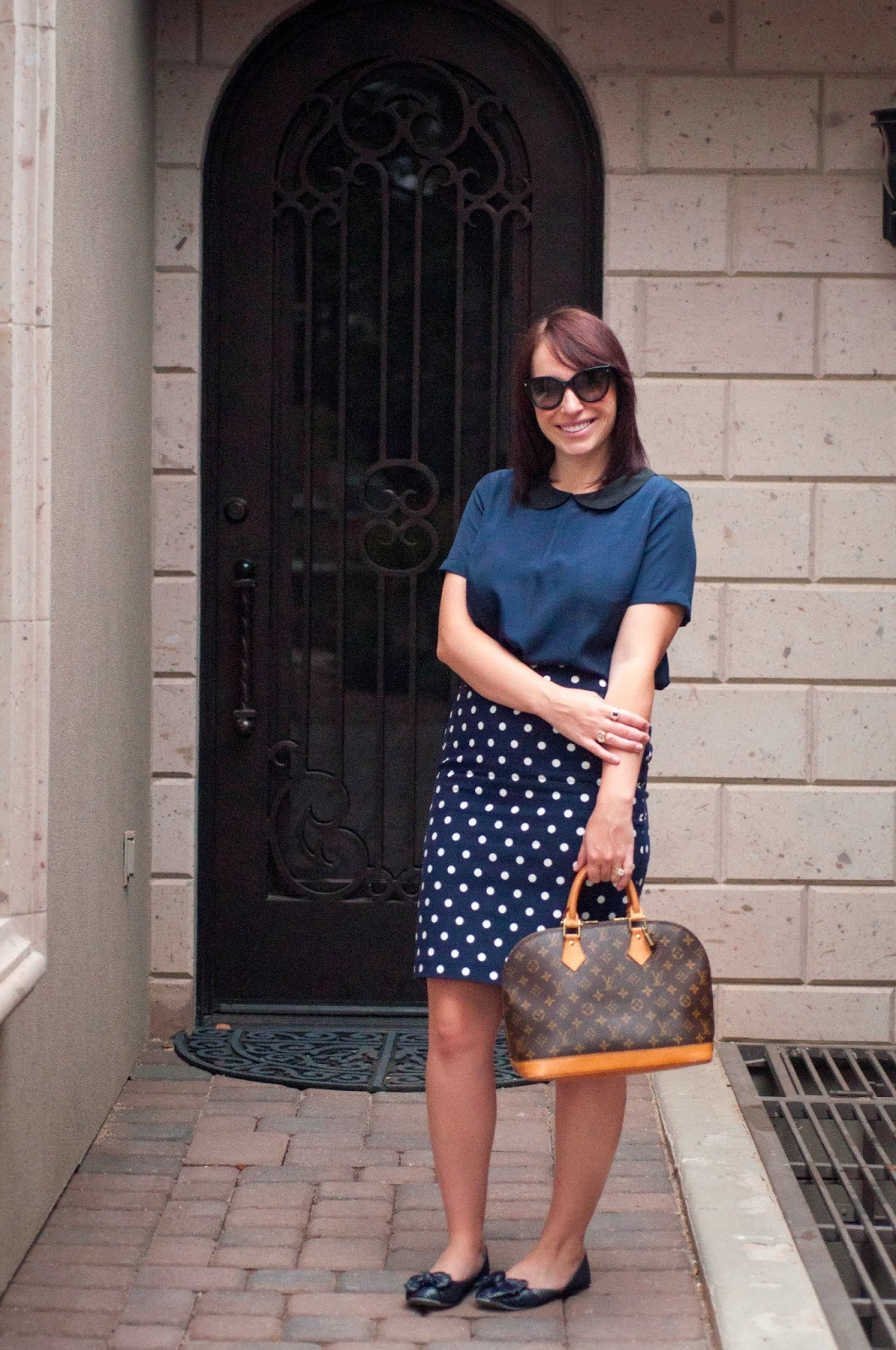 prada cats eye sunglasses, prada, louis vuitton alma, bow flats, target style, peter pan collar, polka dot skirt