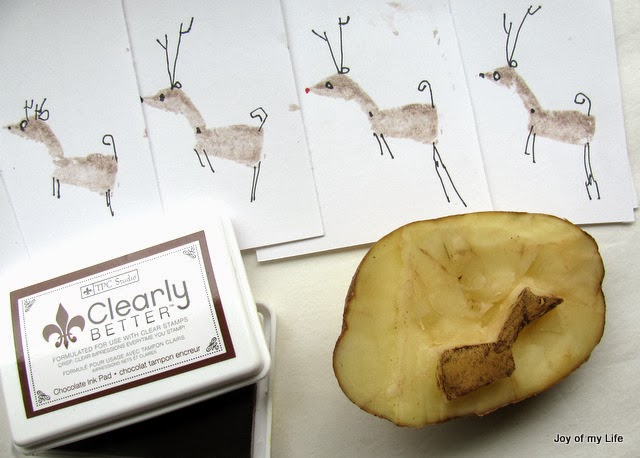 potato stamp reindeer christmas card