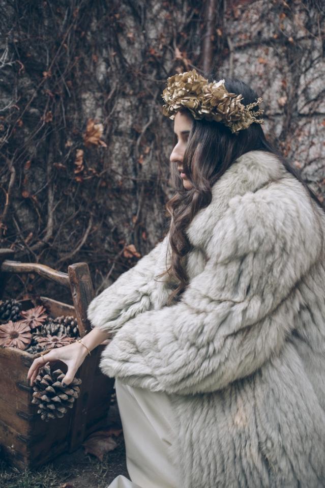 tocados novia diadema flores invierno otoño