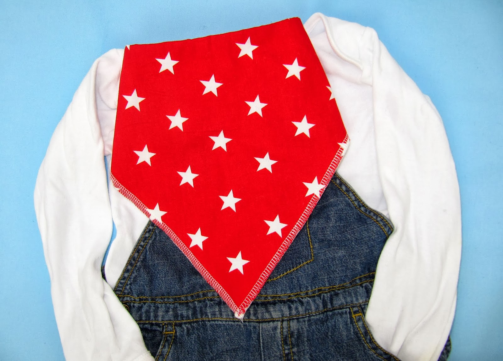 Red bandana bib with white stars ByElsieB