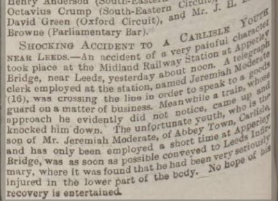Newspaper Cutting: Shocking Accident to a Carlisle Youth near Leeds