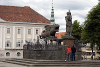 Lindwurm fountain in Klagenfurt Austria