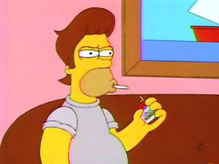 Homer Simpson con el pelo de snake. homer hair snake