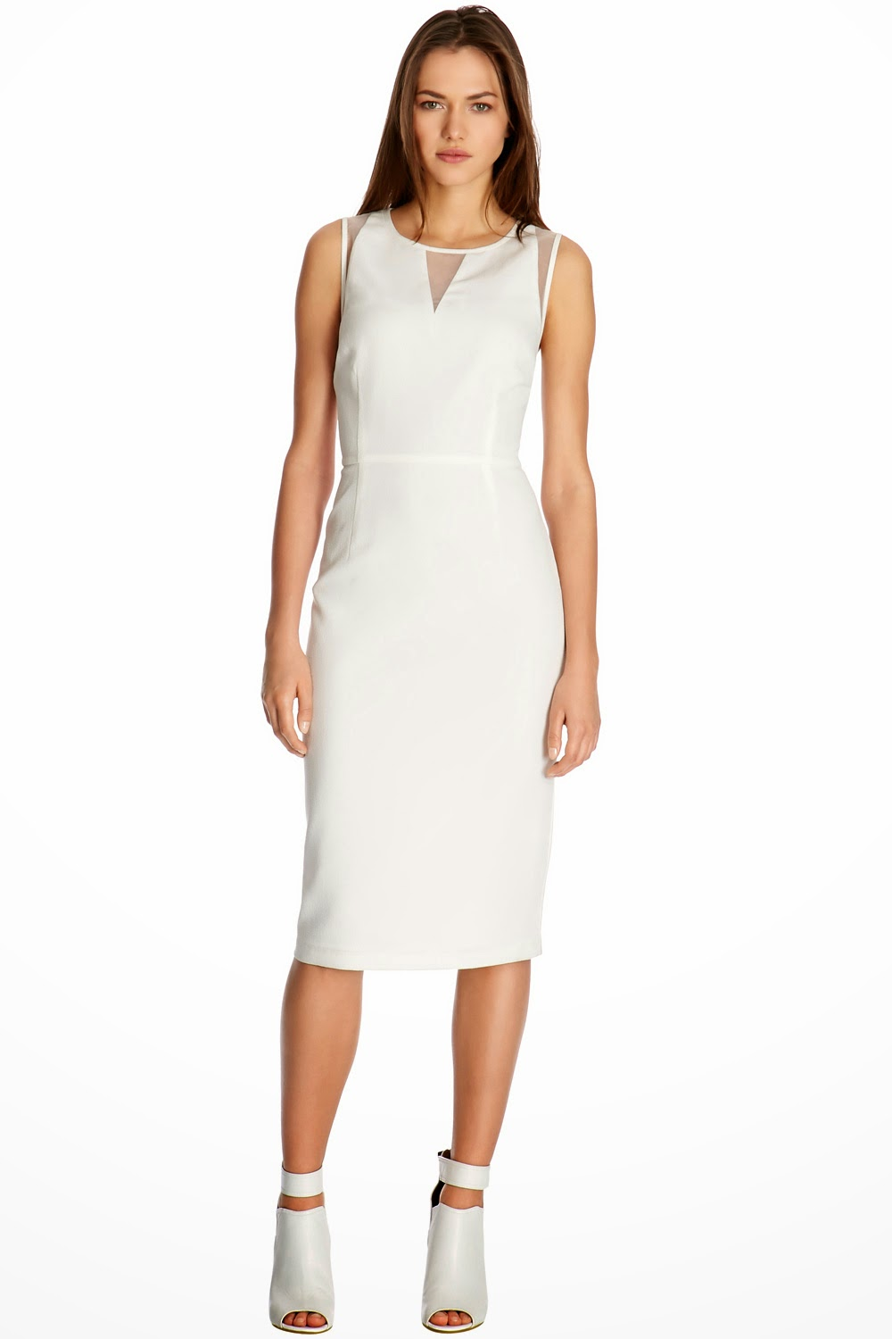 warehouse white midi dress