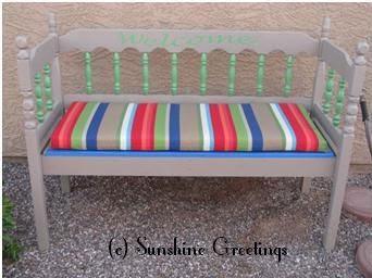 headboard garden bench Toqua's Crafts: How to Make Headboard Garden Bench