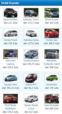 List Mobil Populer di CarMall.com
