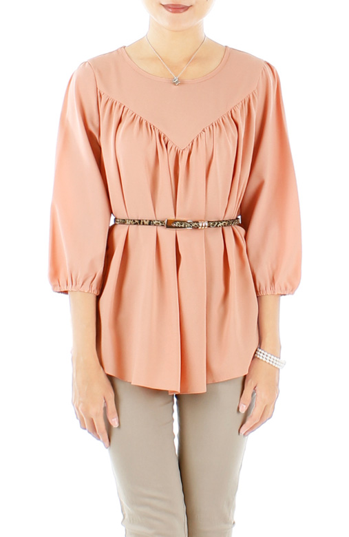 Infinite Gathered Pleat Blouse with ¾ Sleeves