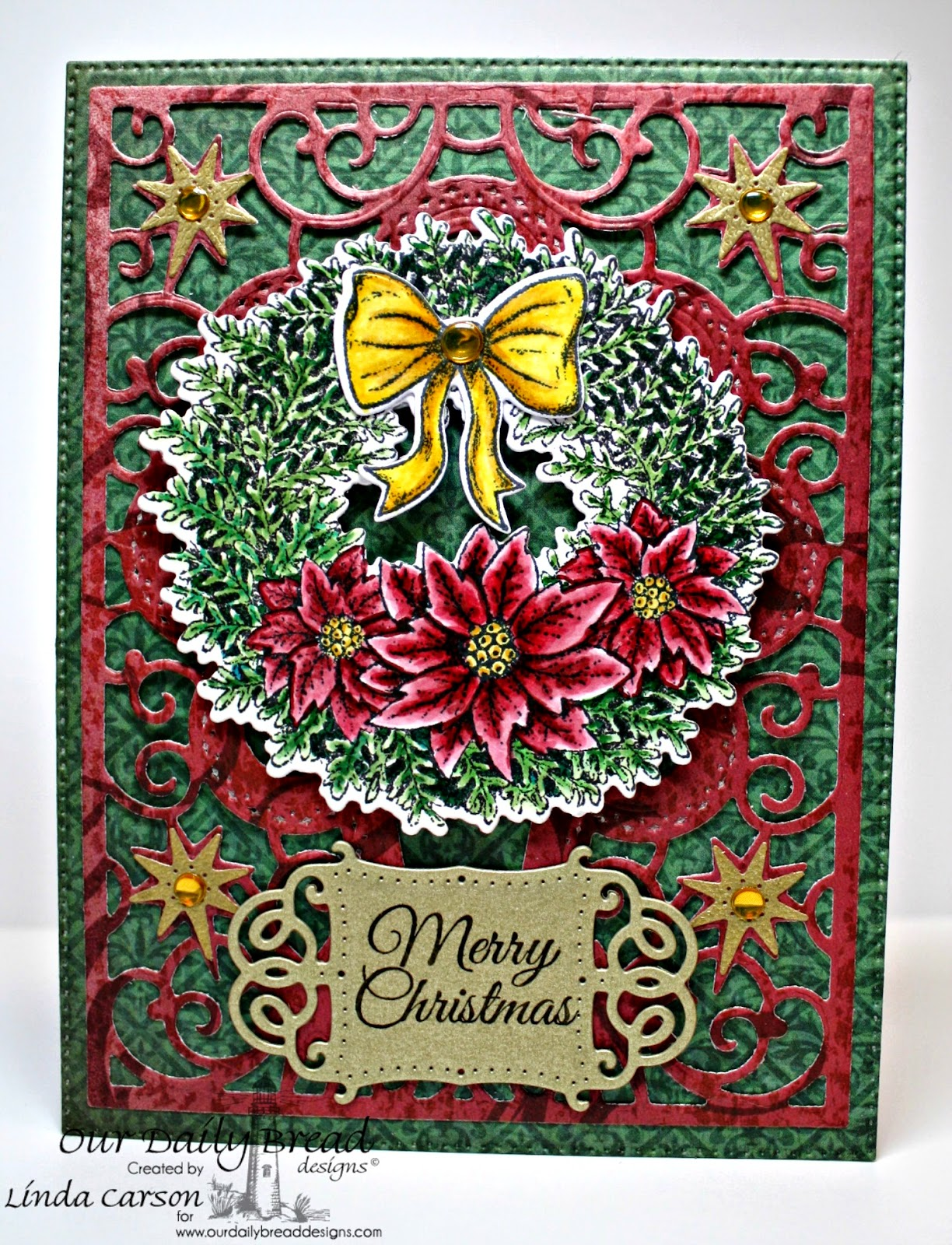 ODBD, Splendorous Stars die, Vintage Flourish Pattern die,  Poinsettia Wreath die, Flourished Star Pattern die, Poinsettia Wreath, Christmas Collection Paper 2013, designer Linda Carson