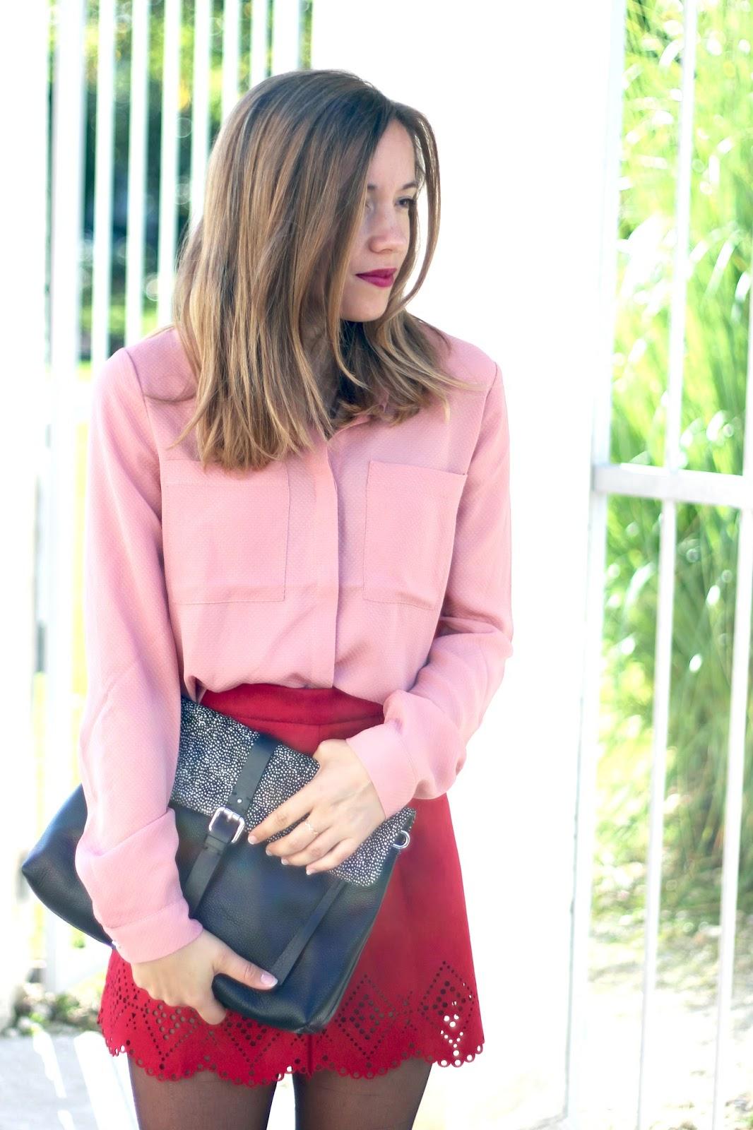 blog mode jupe bordeaux chemise rose