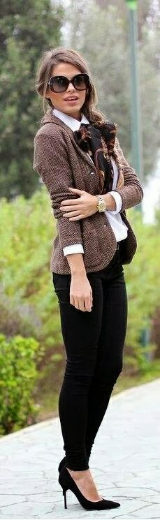 Adorable Jacket and Black Pants, White Blouse and Black High Heel Shoes with Suitable Scarf