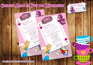 convite Alice no País das Maravilhas Para Imprimir