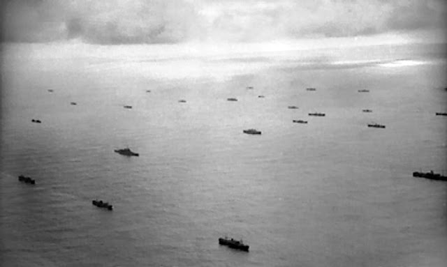 Aerial view of Convoy escorted by Allied Battleship April 1941 Battle of Atlantic