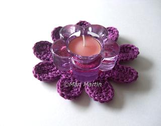 Crochet Flower Purple Coasters