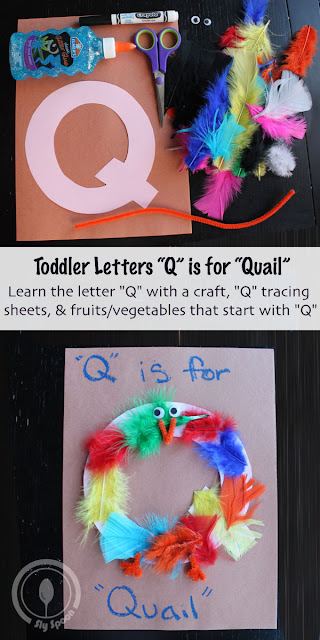 Toddler/Preshooler letter of the week craft Q is for Quail with related craft, tracing sheets and fruits/vegetables.