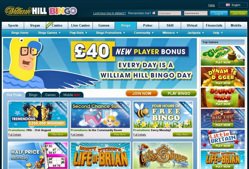William Hill Bingo Screen