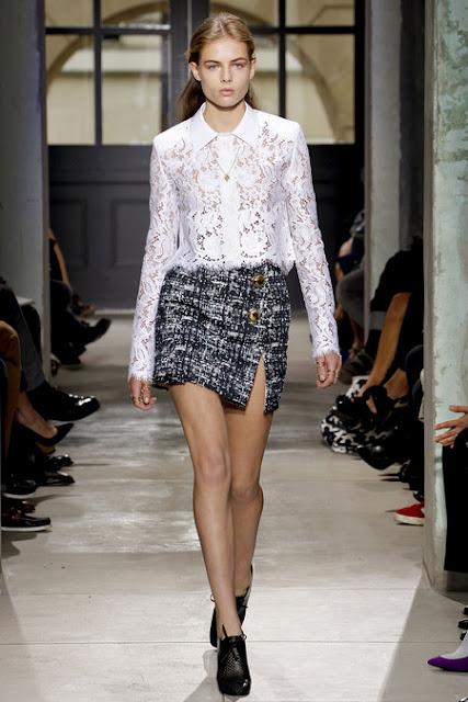 Balenciaga Paris Fashion Week 2012, Spring 2013 Ready to Wear, black and white tweed skirt, white lace blouse