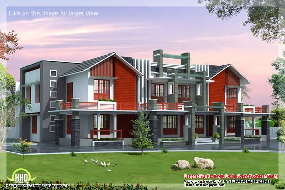 Super luxury 6 bedroom india house plan indian home decor for 6 bedroom house plans luxury