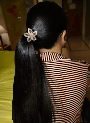 Straight long hair made into ponytail.