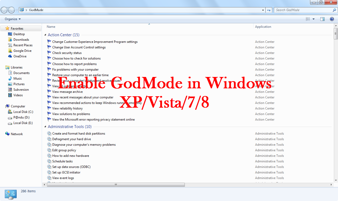 How to Enable GodMode in windows xp/vista/7/8.