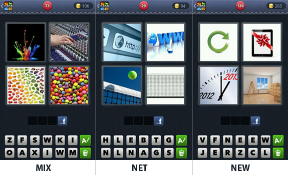 Answers, cheats, hints and tips for 4 Pics 1 Word 3 letters