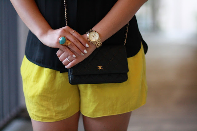 zara heels, zara shorts, ysl arty ring, chanel purse, michael kors watch