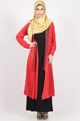 Cardigan Wanita Muslimah Motif Garis Merah