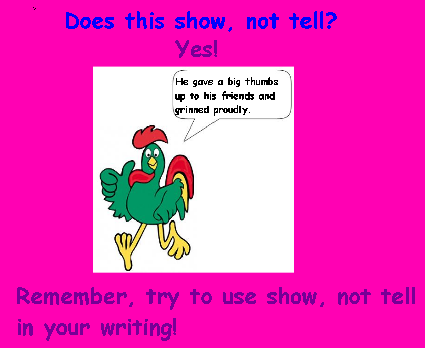creative writing show not tell