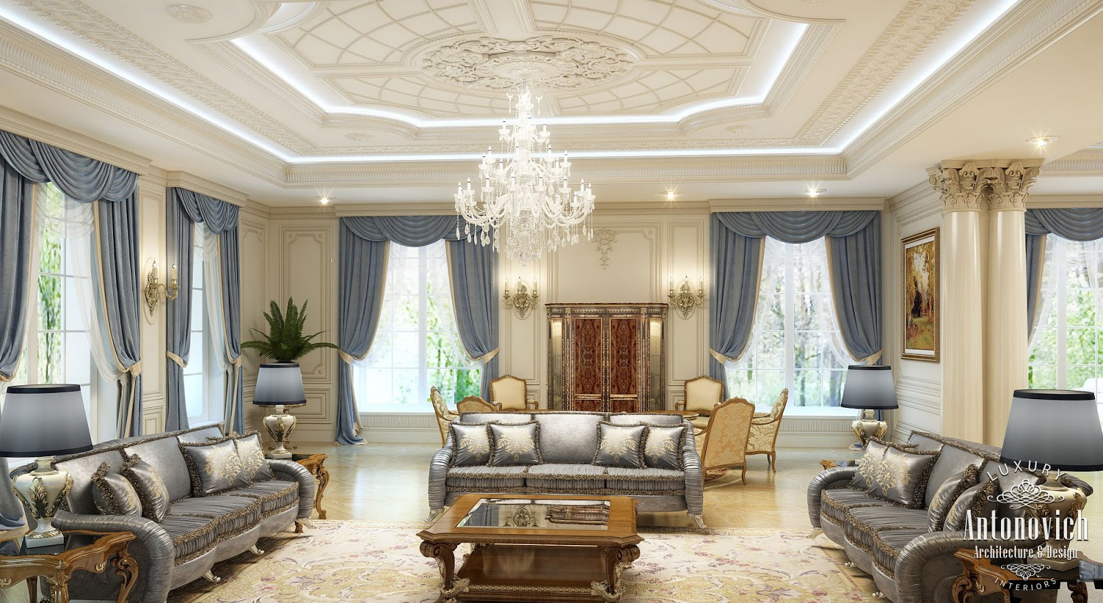 Luxury antonovich design uae villa design in the uae classical style by kateryna antonovich for Luxury living rooms pictures